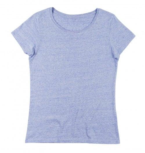 T-shirt pour Femme Femme Bleu Ciel Chiné de couleur Bleu chiné