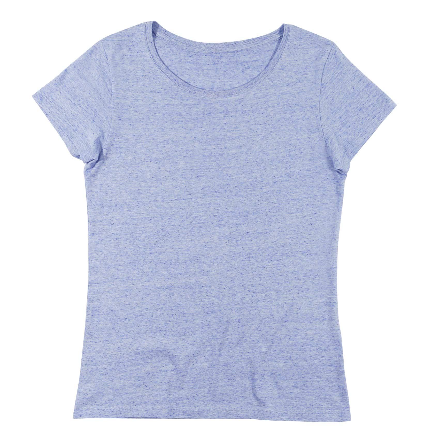 bc61f82b01936 T-shirt pour Femme Femme Bleu Ciel Chiné de couleur Bleu chiné. 1