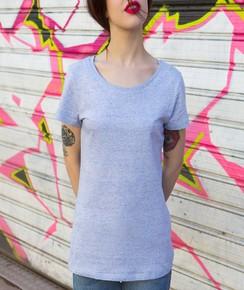 T-shirt à col rond Femme Bleu Ciel Chiné