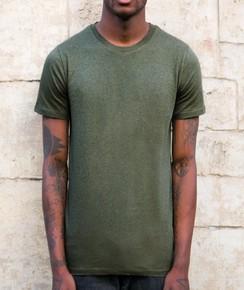 T-shirt à col rond Homme Kaki Chiné