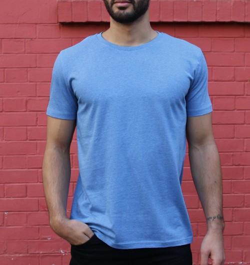 T-shirt pour Homme Homme Bleu Chiné de couleur Bleu chiné