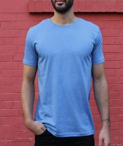 T-shirt à col rond Homme Bleu Chiné