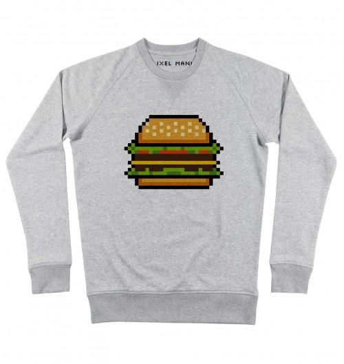 Sweat pour Homme Pixel Burger de couleur Gris chiné