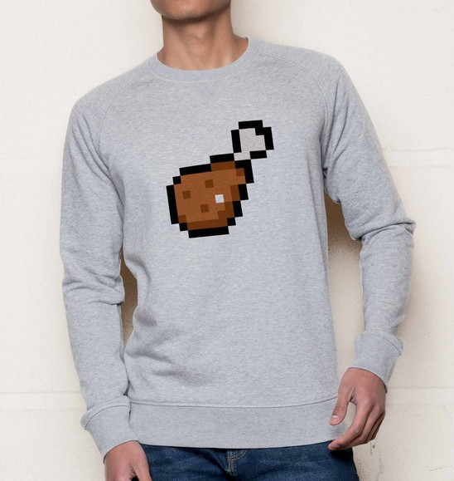 Sweat pour Homme Pixel Chicken de couleur Gris chiné