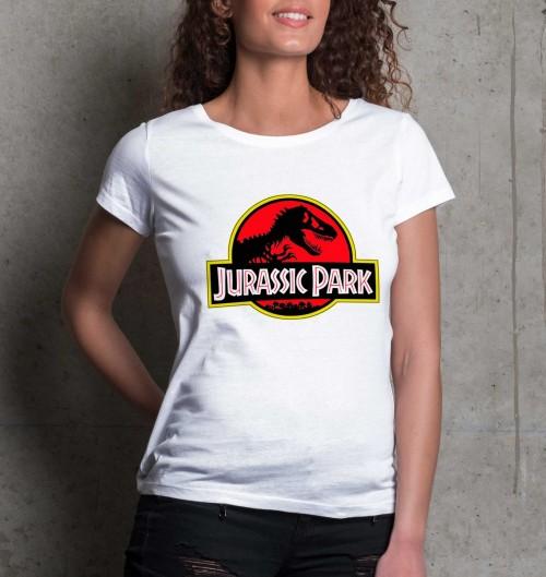 T-shirt pour Femme Femme Jurassic Park de couleur Blanc
