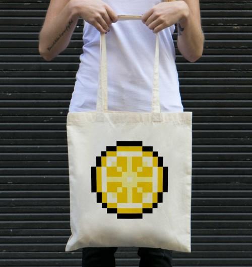 Tote-Bag pour Femme Pixel Citron de couleur Crème