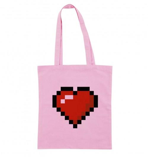 Tote-Bag pour Femme Pixel Coeur de couleur Rose