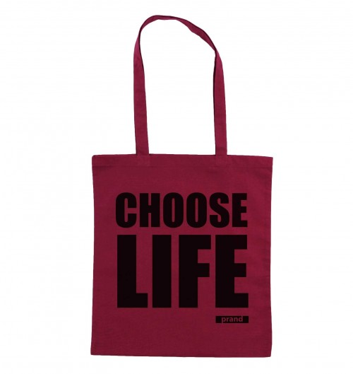 Tote Bag Choose Life de couleur Cranberry