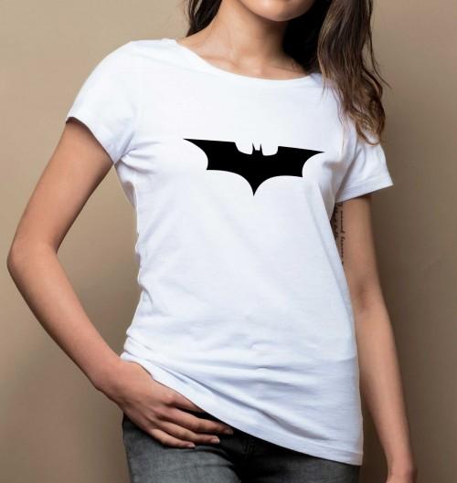 T-shirt pour Femme Femme Logo Batman de couleur Blanc