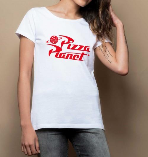 T-shirt pour Femme Femme Pizza Planet de couleur Blanc