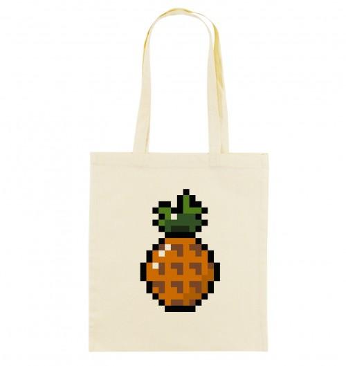 Tote Bag pour Femme Pixel Ananas de couleur Crème