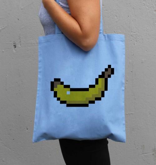 Tote Bag pour Femme Pixel Banane de couleur Bleu clair