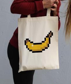 Détail Tote Bag Pixel Banane Numérique