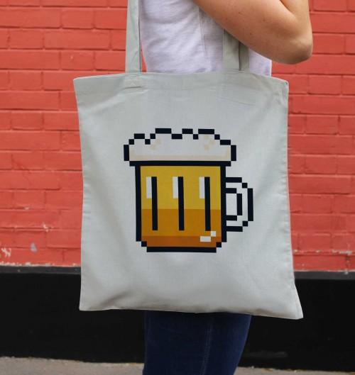 Tote Bag pour Femme Pixel Bière de couleur Gris
