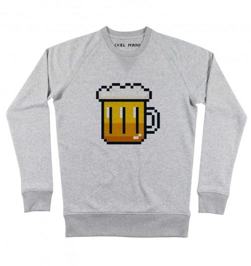 Sweat pour Homme Pixel Bière de couleur Gris chiné