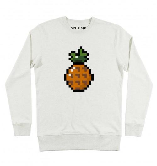 Sweat pour Homme Homme Pixel Ananas de couleur Beige chiné