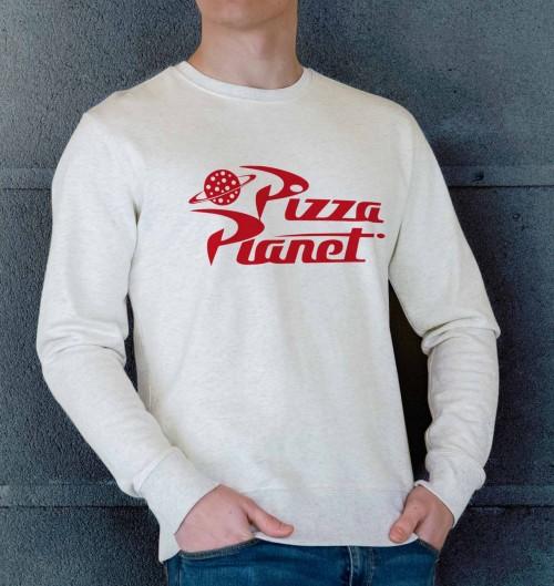 Sweat pour Homme Pizza Planet de couleur Beige chiné