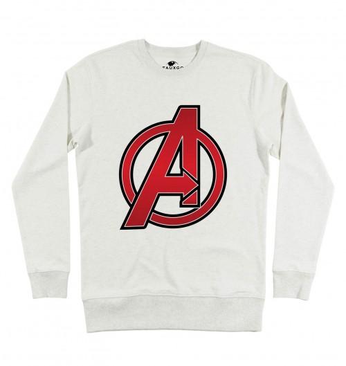 Sweat pour Homme Logo The Avengers de couleur Beige chiné