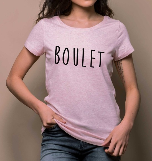 T-shirt pour Femme Femme Boulet de couleur Rose chiné
