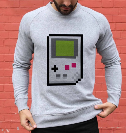 Sweat pour Homme Pixel Game Boy de couleur Gris chiné