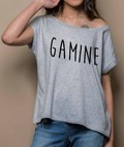 T-shirt à col évasé Loose Gamine