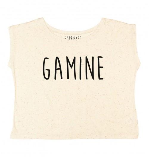 T-shirt pour Femme Loose Gamine de couleur Gris chiné