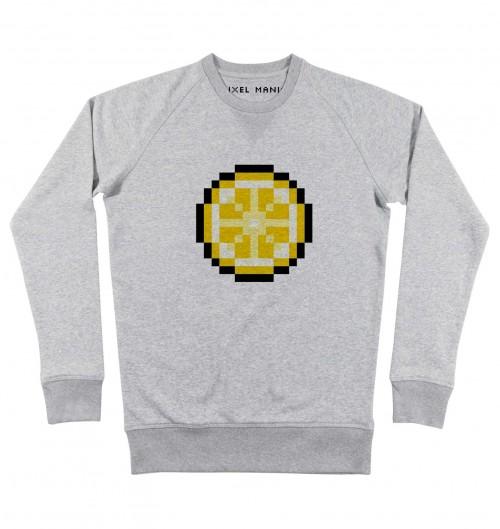 Sweat pour Homme Pixel Citron de couleur Gris chiné