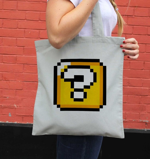 Tote Bag Pixel Cube Mystère de couleur Gris