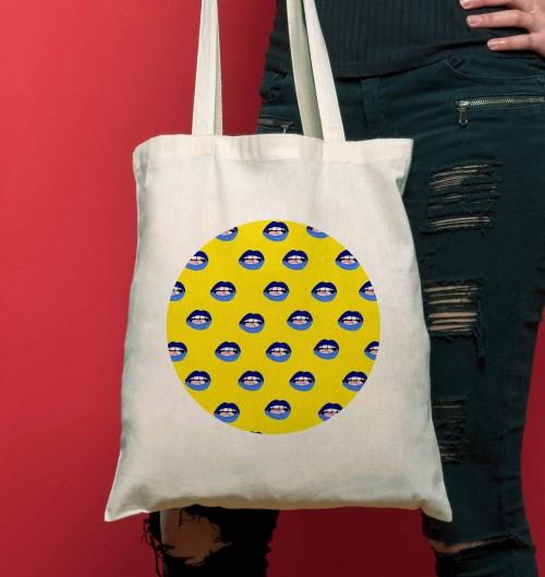 Tote Bag Motifs Bouche Ouverte de couleur Crème