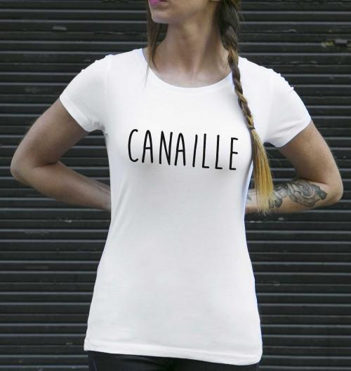 T-shirt pour Femme Femme Canaille de couleur Blanc