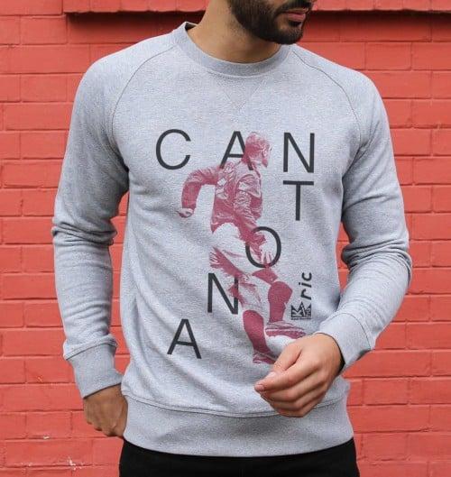 Sweatshirt pour Homme Eric Cantona de couleur Gris chiné