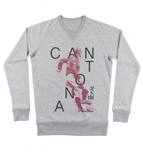 Sweat-shirt pour Homme Eric Cantona de couleur Gris chiné