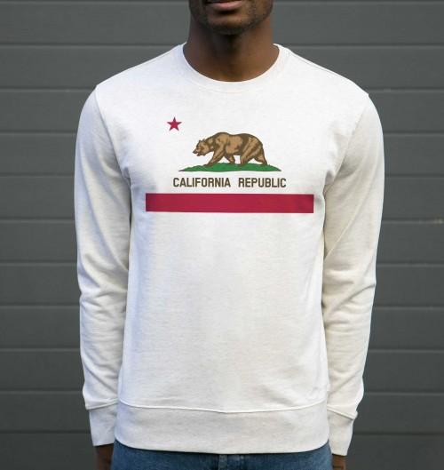 Sweat pour Homme California Republic de couleur Gris chiné