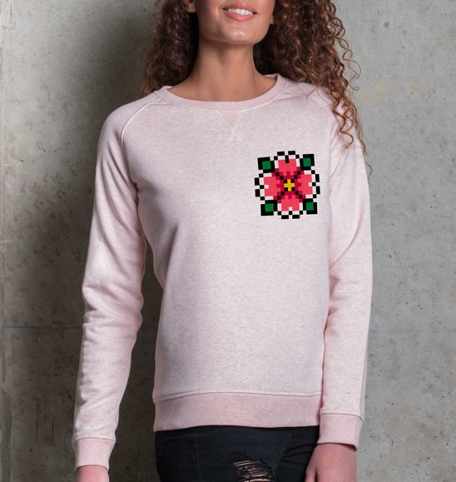 Sweat pour Femme Femme Pixel Fleur de couleur Rose chiné