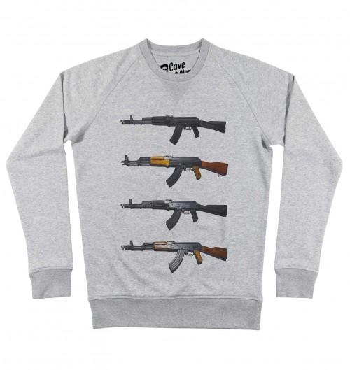Sweat pour Homme AK 47 de couleur Gris chiné