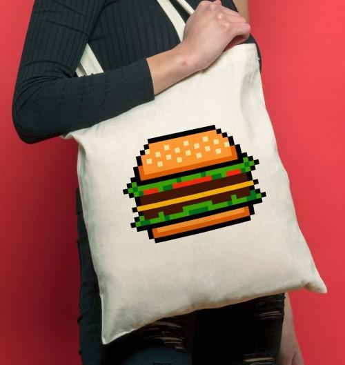 Tote-bag Hamburger en Pixels de couleur Crème
