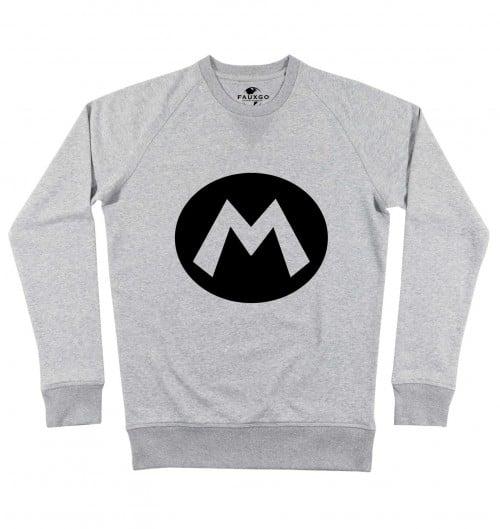 Sweat pour Homme Logo Mario de couleur Gris chiné
