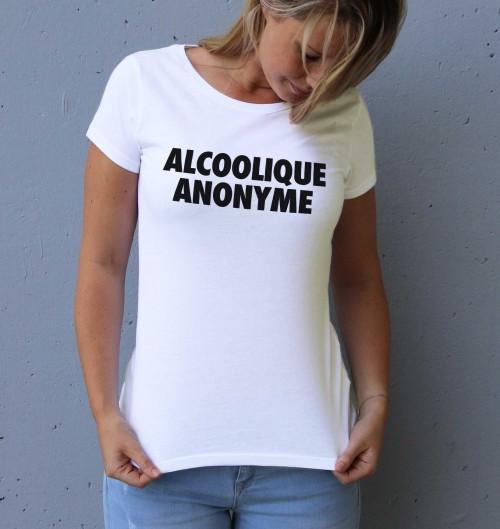 T-shirt Femme Alcoolique Anonyme 100% coton bio