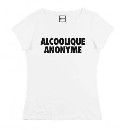 T-shirt pour Femme Femme Alcoolique Anonyme de couleur Blanc