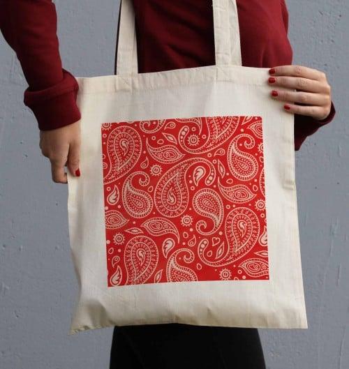 Tote Bag Motif Paisley Rouge de couleur Crème