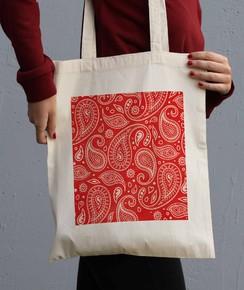 Tote Bag Motif Paisley Rouge
