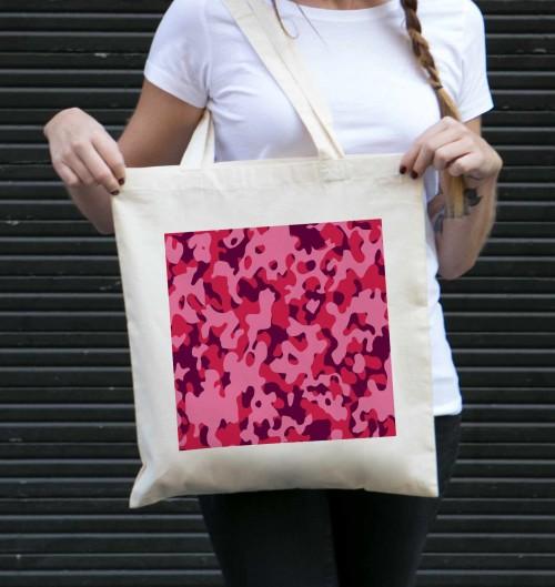 Tote Bag Camo Rose de couleur Crème