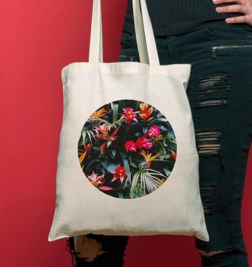 Tote Bag Fleurs Tropicales de couleur Crème