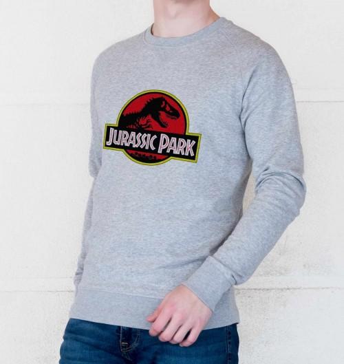 Sweat pour Homme Logo Jurassic Park de couleur Gris chiné