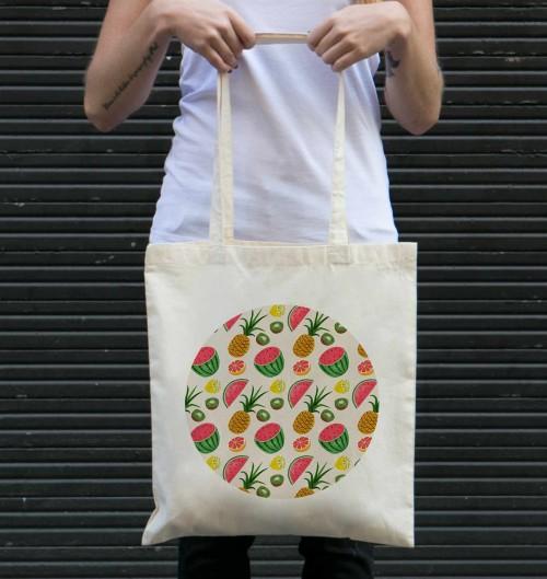 Tote Bag Motifs Fruits Été de couleur Crème