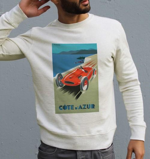 Sweat pour Homme Côte d'Azur de couleur Beige chiné