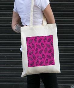 Tote Bag 100% coton Plumes Roses