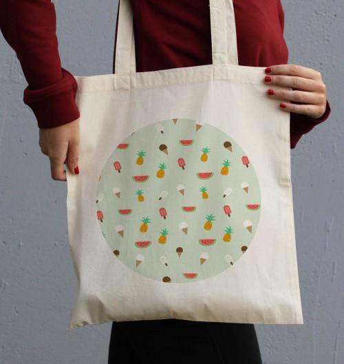 Tote Bag Summer Pattern de couleur Crème