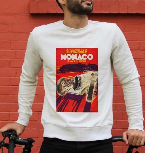 Sweat pour Homme Monaco GP 1930 de couleur Beige chiné