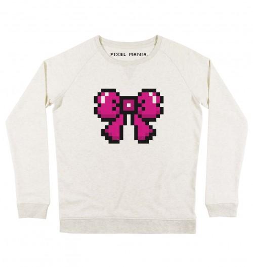 Sweat pour Femme Femme Pixel Noeud Rose de couleur Beige chiné